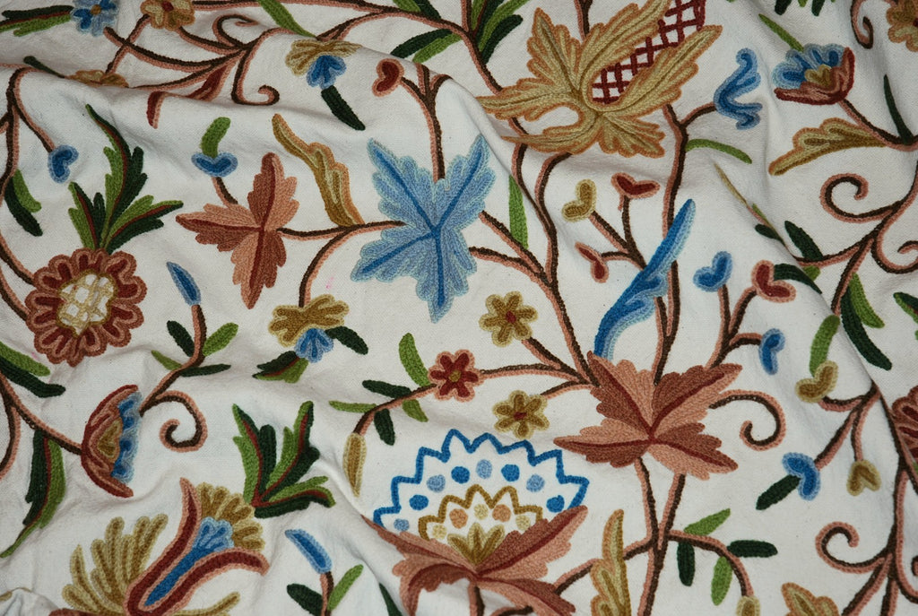 Cotton Crewel Embroidered Bedspread Off-White, Multicolor #FLR1105