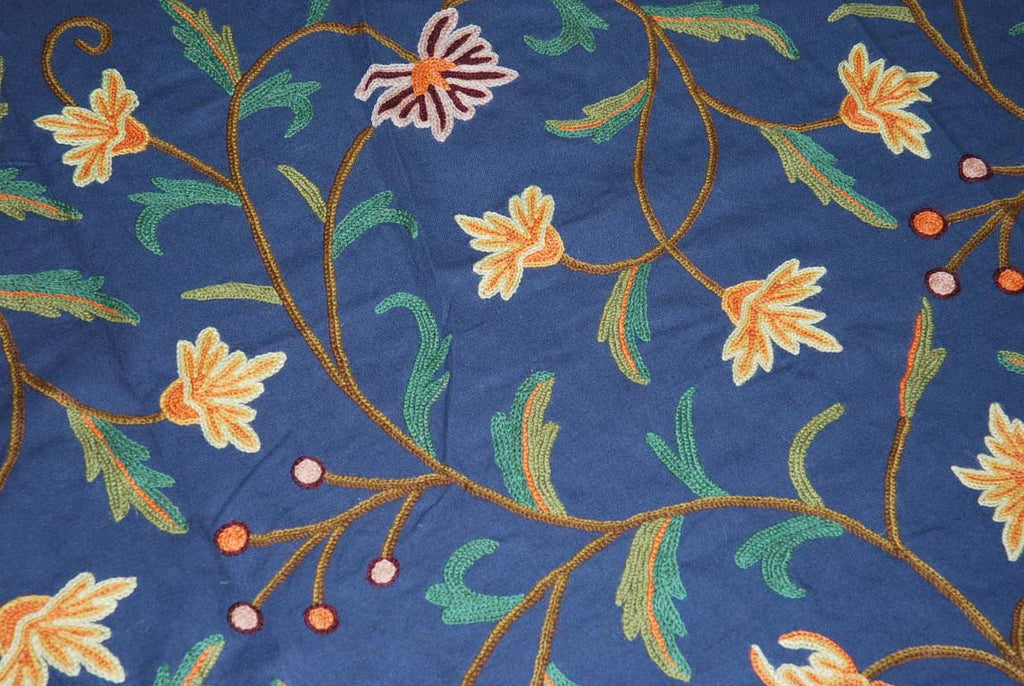 Cotton Crewel Embroidered Bedspread Navy Blue, Multicolor #FLR1205