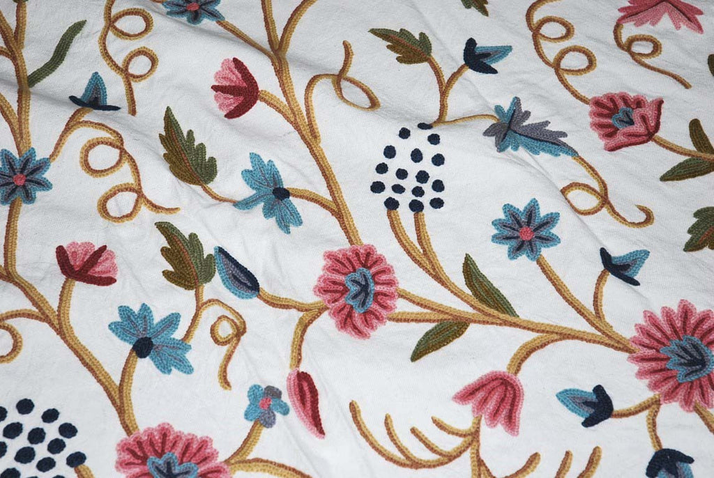 "Cotton Crewel Embroidered Bedspread ""Grapevine"" Off-White, Multicolor #FLR1302"