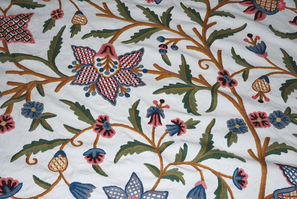 Cotton Crewel Embroidered Bedspread Off-White, Multicolor #FLR1317