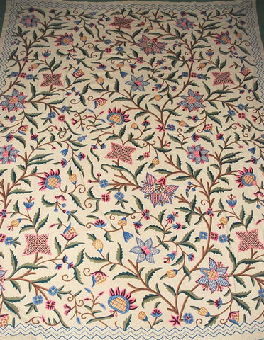 Cotton Crewel Embroidered Bedspread Beige, Multicolor #FLR1337