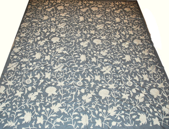Cotton Crewel Embroidered Bedspread White on Grey #FLR1421