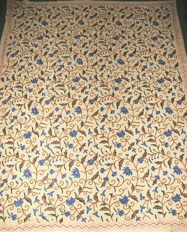 Cotton Crewel Embroidered Bedspread Jacobean Beige, Multicolor #TML1201
