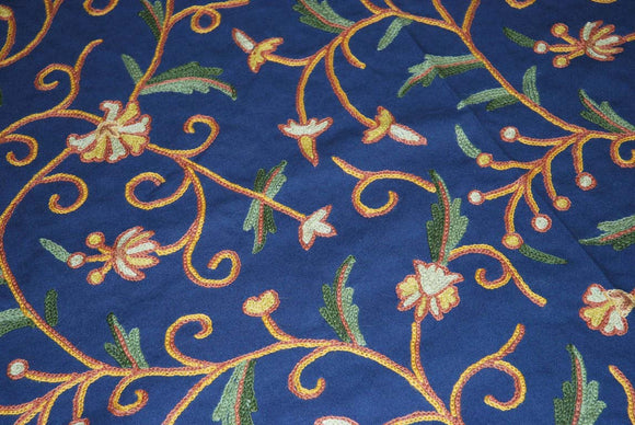 Cotton Crewel Embroidered Bedspread Jacobean Navy Blue, Multicolor #TML1207