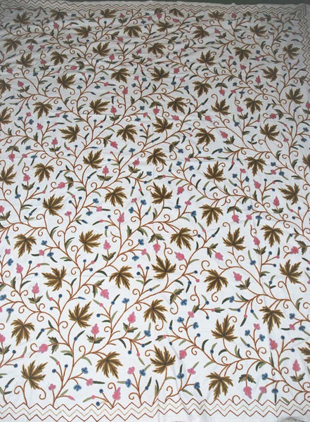 "Cotton Crewel Embroidered Bedspread ""Maple"" Off-White, Multicolor #CHR1102"