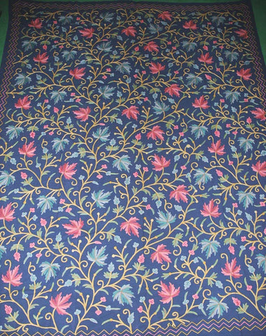 "Cotton Crewel Embroidered Bedspread ""Maple"" Navy Blue, Multicolor #CHR1304"