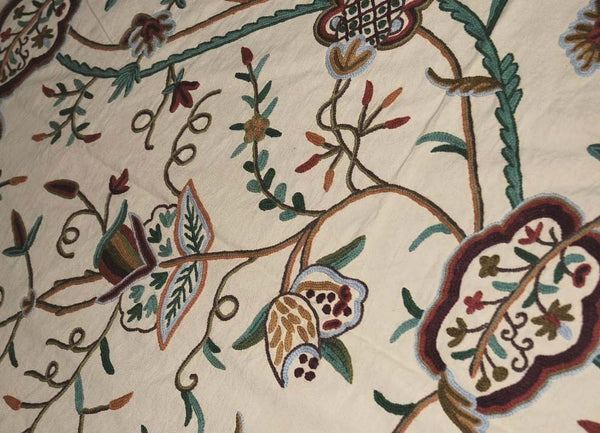 "Cotton Crewel Embroidered Bedspread ""Watlab"" Beige, Multicolor #FLR1328"