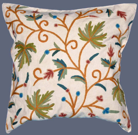 "Cotton Crewel Embroidered Cushion Cover ""Maple"", Multicolor #CW-308"