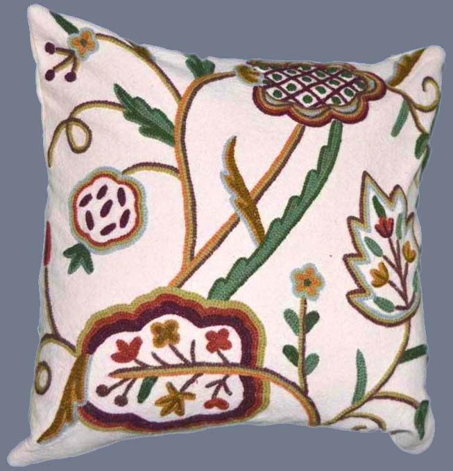 "Cotton Crewel Pillow Cushion Cover ""Watlab"", Multicolor #CW328"