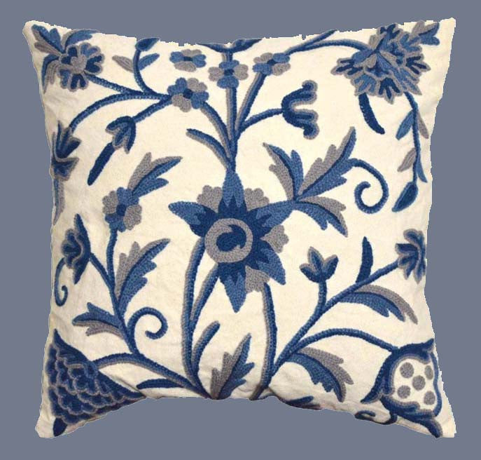 "Cotton Crewel Pillow Cushion Cover ""Tree of Life"", Blue #CW402"