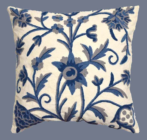 "Cotton Crewel Embroidered Cushion Cover ""Tree of Life"", Blue #CW-402"