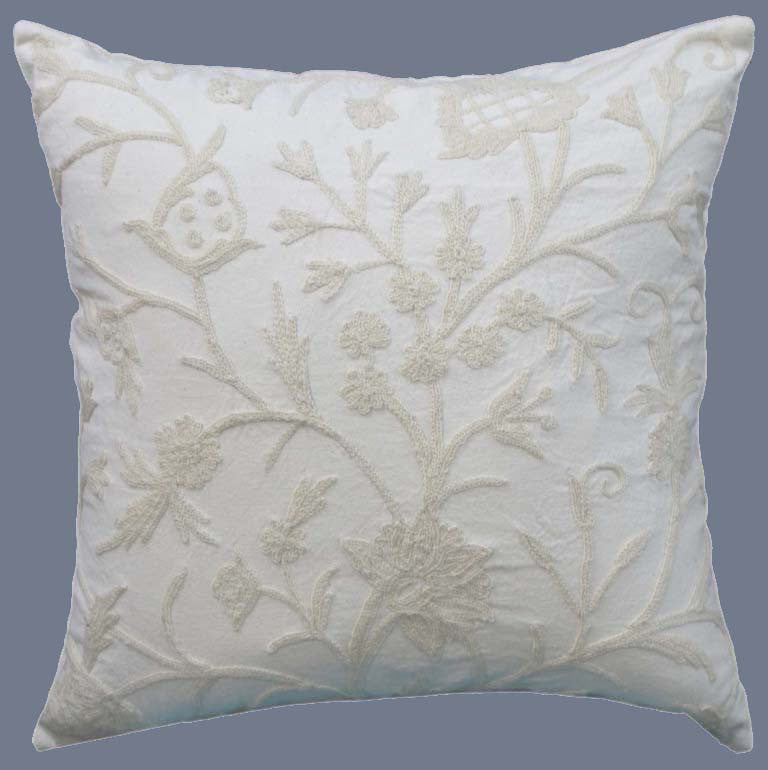 "Cotton Crewel Pillow Cushion Cover ""Tree of Life"", White on White #CW421"