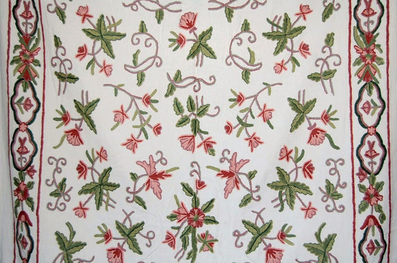 Cotton Crewel Embroidered Fabric, Multicolor #BDR001