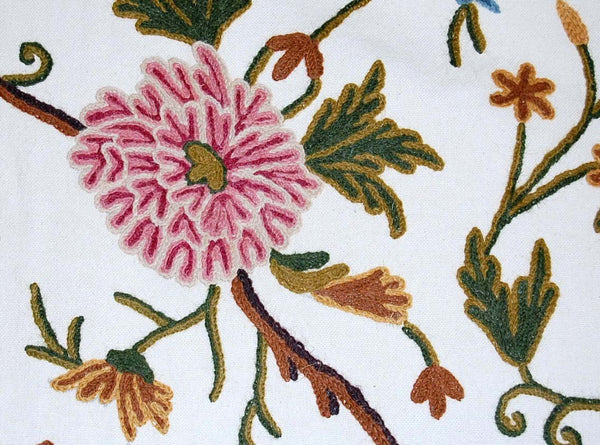 Cotton Crewel Embroidered Fabric, Multicolor #BJK001