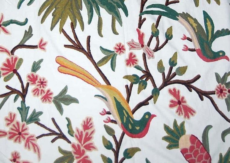 Cotton Crewel Embroidered Fabric Eagles, Multicolor #BRD001