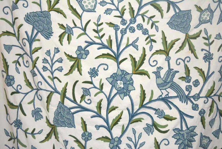 Cotton Crewel Embroidered Fabric Tree of Life Birds, Blue and Green #BRD112