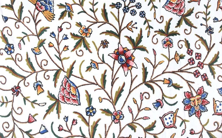 "Cotton Crewel Embroidered Fabric ""Tree of Life"", Multicolor #DDR003"