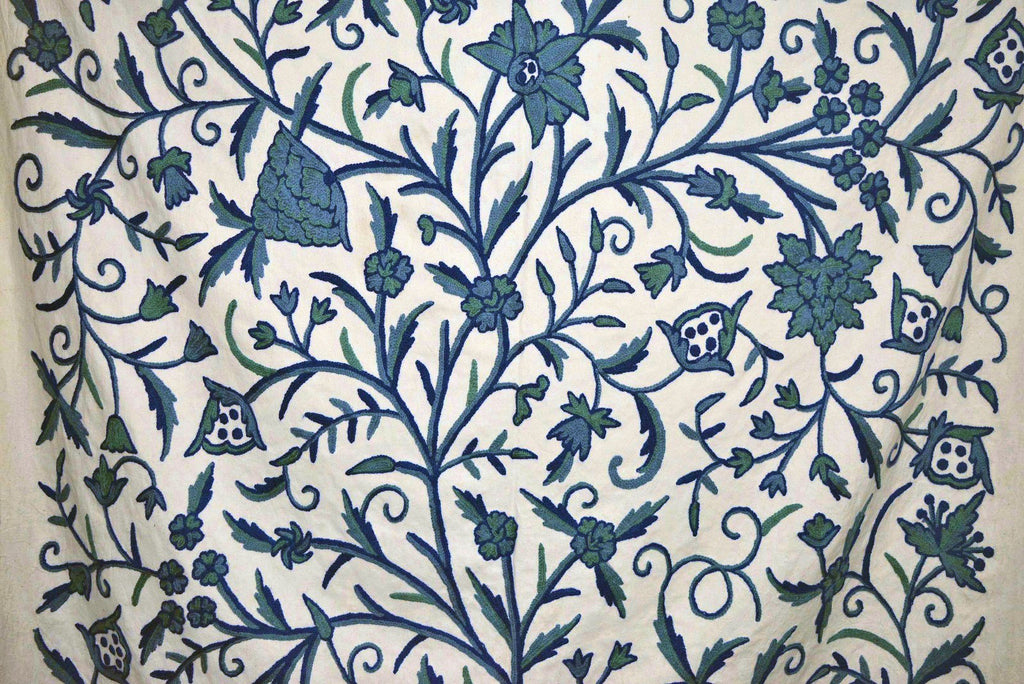 Cotton Crewel Embroidered Fabric Tree of Life, Blue on White #DDR011
