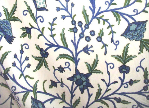 "Cotton Crewel Embroidered Fabric ""Tree of Life"", Blue and Green #DDR012"