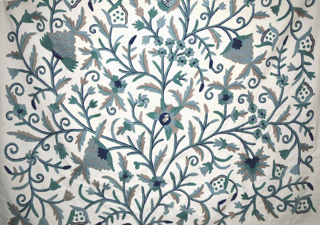 Cotton Crewel Embroidered Fabric Tree Of Life Grey And Blue