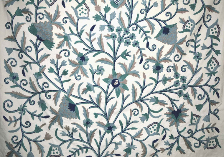 "Cotton Crewel Embroidered Fabric ""Tree of Life"", Grey and Blue #DDR014"