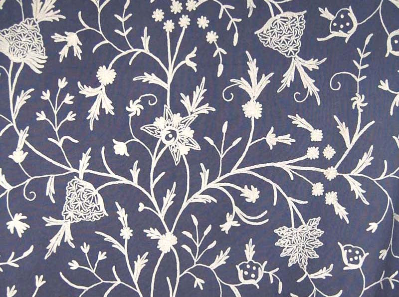 "Cotton Crewel Embroidered Fabric ""Tree of Life"", White on Dull Navy #DDR051"