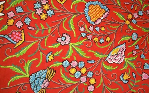 "Cotton Crewel Embroidered Fabric ""Tree of Life"" Orange, Multicolor #DDR101"