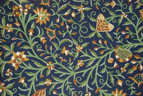 "Cotton Crewel Embroidered Fabric ""Tree of Life"" Navy Blue, Multicolor #DDR102"