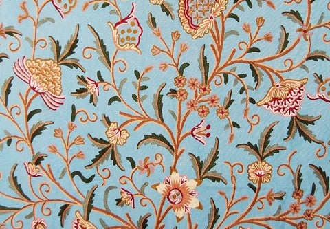 "Cotton Crewel Embroidered Fabric ""Tree of Life"" Turquoise, Multicolor #DDR201"