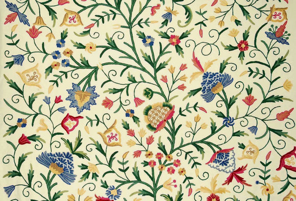 "Cotton Crewel Embroidered Fabric ""Tree of Life"" Cream, Multicolor #DDR302"