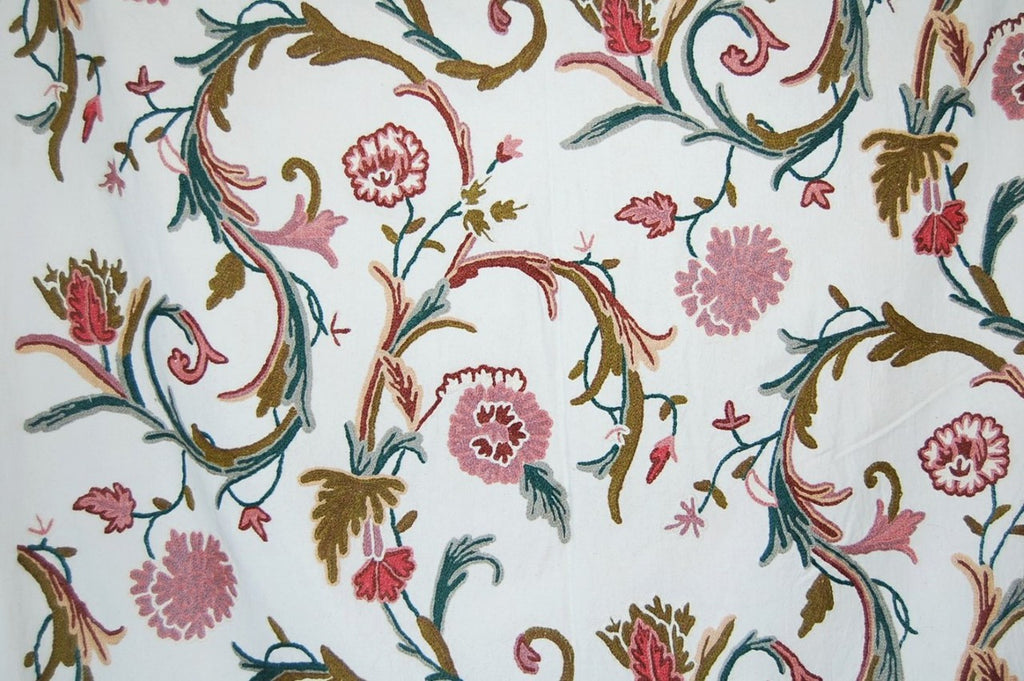 Cotton Crewel Embroidered Fabric, Multicolor #FLR006
