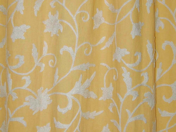 Cotton Crewel Embroidered Fabric Jacobean, White on Beige #FLR021