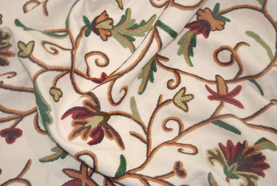 Cotton Crewel Embroidered Fabric Beige, Multicolor #FLR105