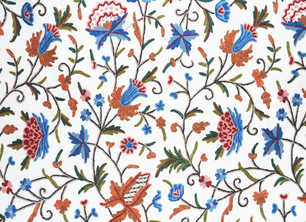 Cotton Crewel Embroidered Fabric, Multicolor #FLR203