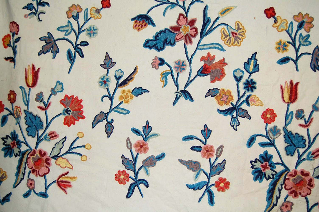 Cotton Crewel Embroidered Fabric Beige, Multicolor #FLR302