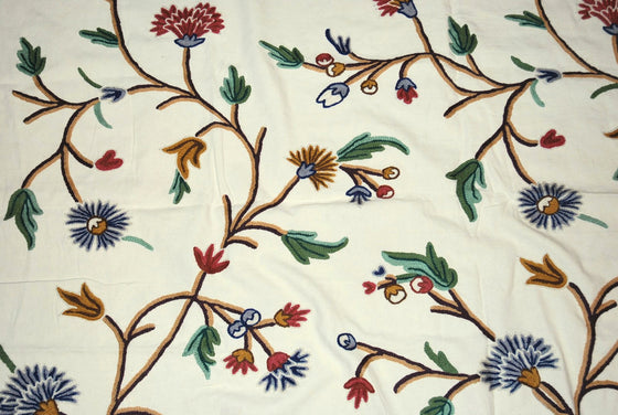 Cotton Crewel Embroidered Fabric Floral Cream, Multicolor #FLR312