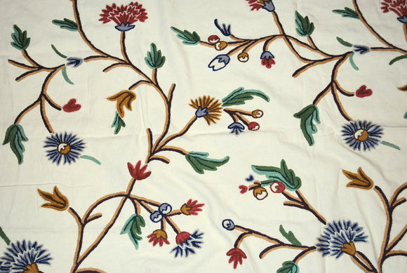 Cotton Crewel Embroidered Fabric Cream, Multicolor #FLR312