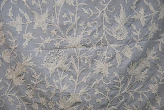 Cotton Crewel Embroidered Fabric Floral, White on Grey #FLR452