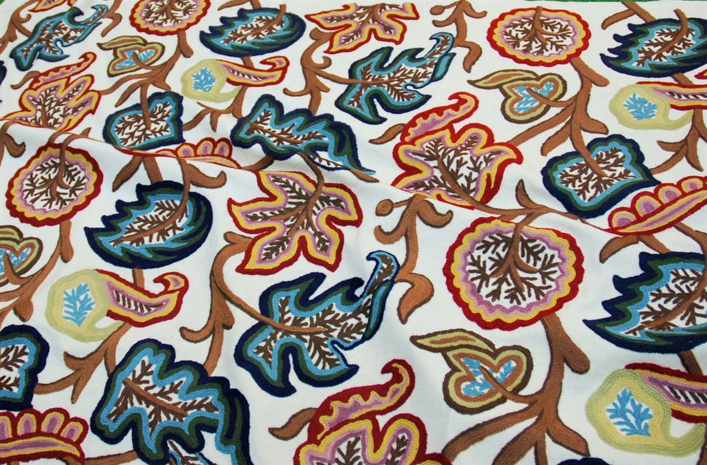 Cotton Crewel Embroidered Fabric Off-White, Multicolor #JHL002