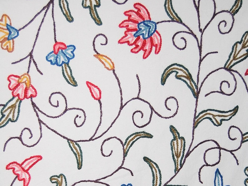 Cotton Crewel Embroidered Fabric Jacobean, Multicolor #SNL001