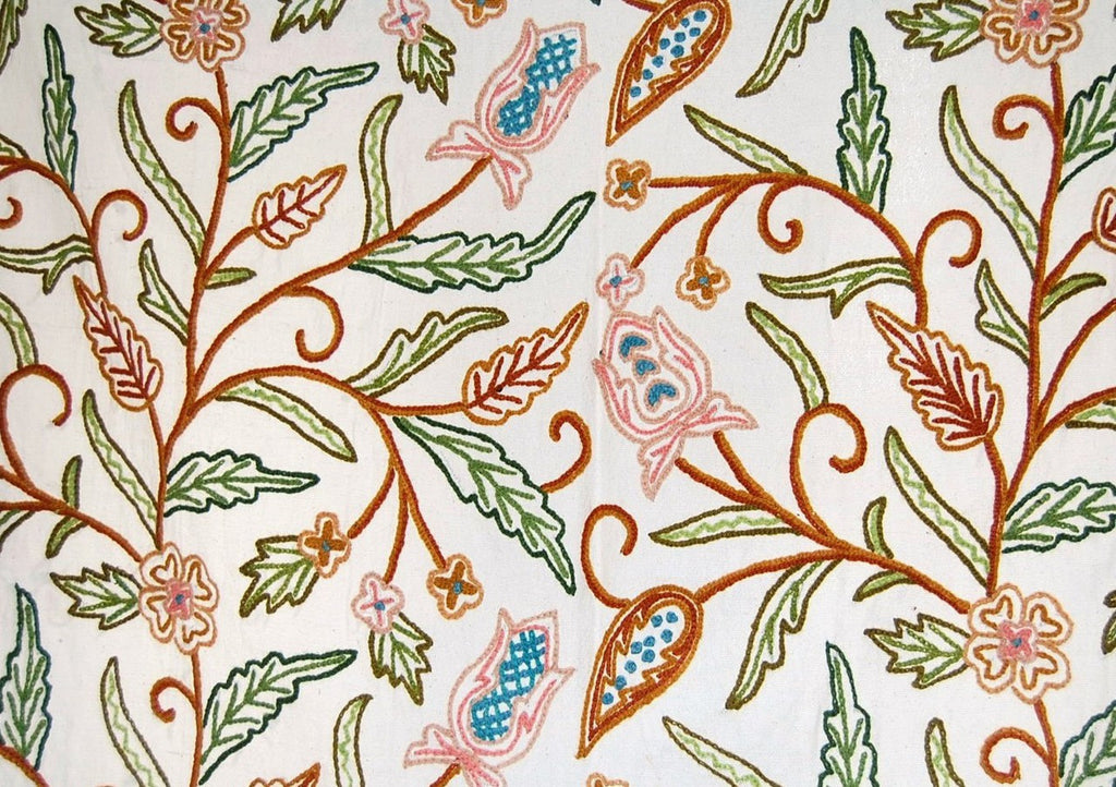 Cotton Crewel Embroidered Fabric Jacobean, Multicolor #SNL102