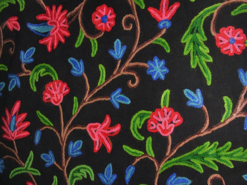 Cotton Crewel Embroidered Fabric Jacobean Black, Multicolor #SNL201