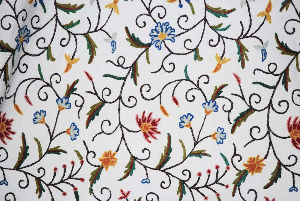 Cotton Crewel Embroidered Fabric Jacobean, Multicolor #TML001