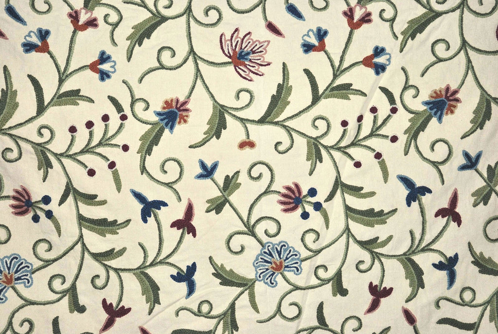 Cotton Crewel Embroidered Fabric Jacobean Cream, Multicolor #TML002