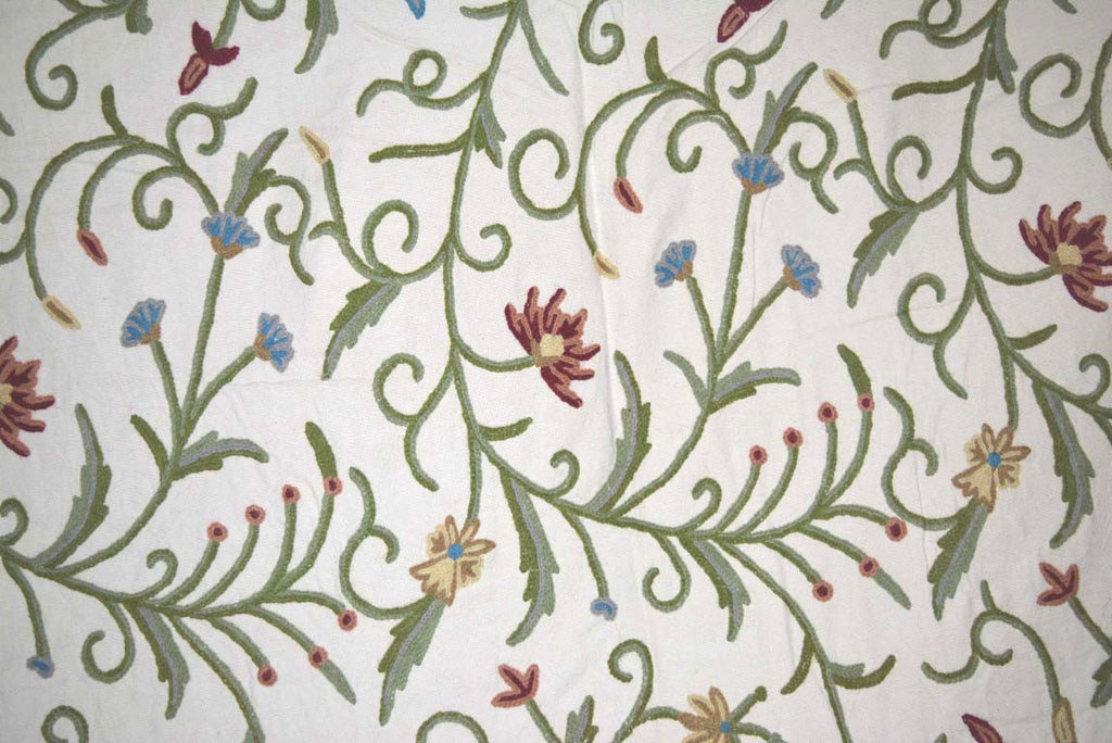 Cotton Crewel Embroidered Fabric Jacobean, Multicolor #TML004