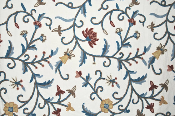 Cotton Crewel Embroidered Fabric Jacobean, Multicolor #TML009