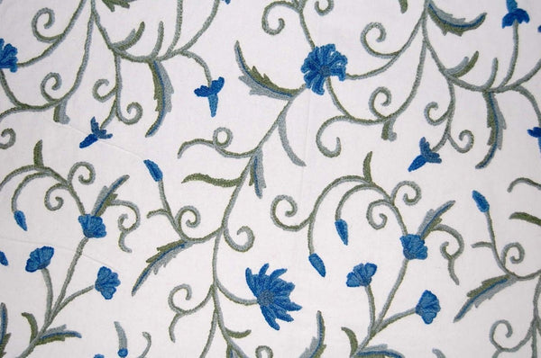 Cotton Crewel Embroidered Fabric Jacobean, Blue and Green #TML012