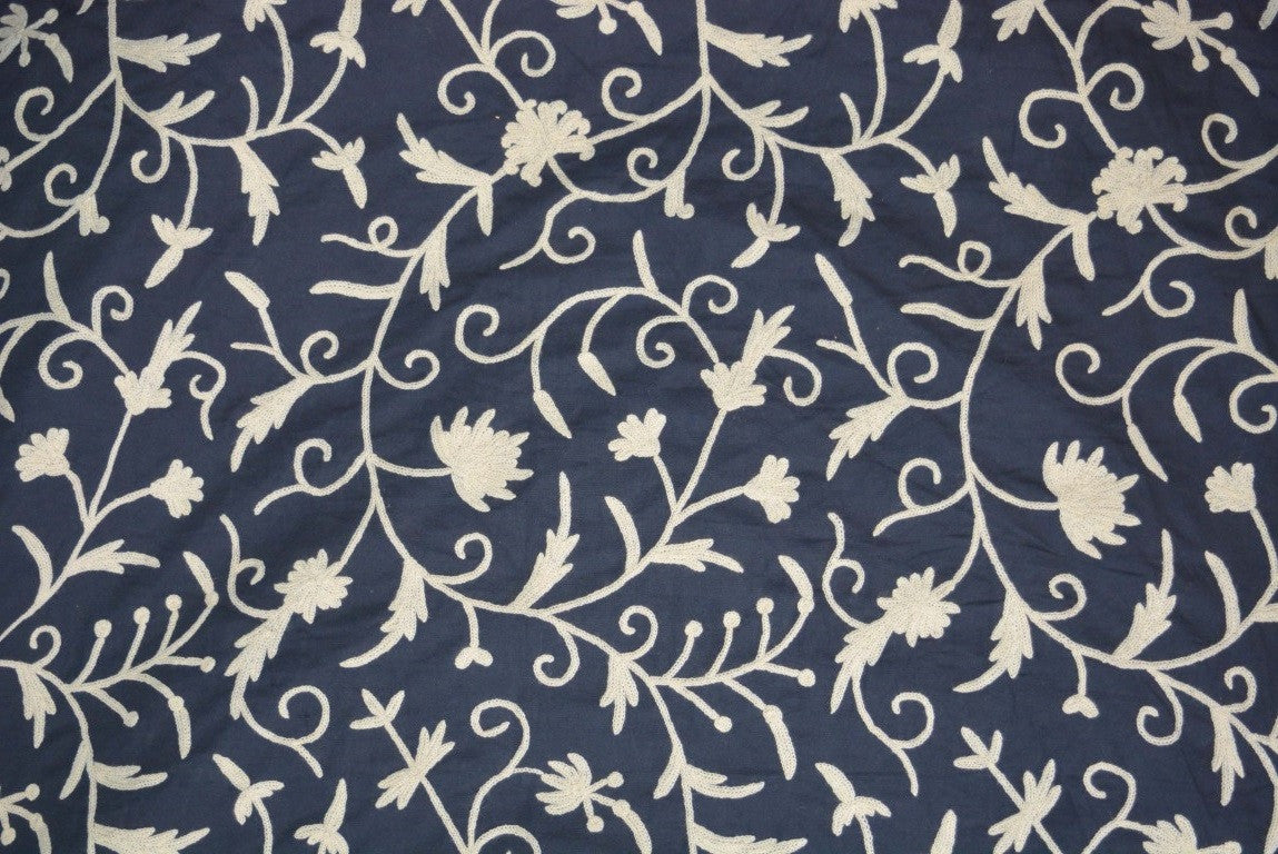 Cotton Crewel Embroidered Fabric Jacobean, White on Navy #TML111