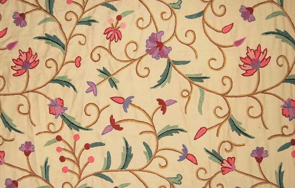 Cotton Crewel Embroidered Fabric Jacobean Beige, Multicolor #TML201