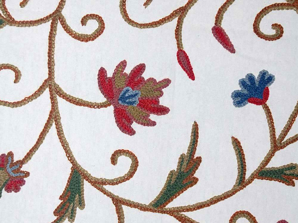 Cotton Crewel Embroidered Fabric Jacobean, Multicolor #TML331